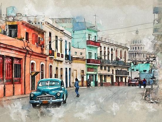 dibujo colorido de La Havana, Cuba